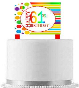 CakeSupplyShop Item#AE-062 Happy 61st Birthday Rainbow Elegant Cake Decoration Topper