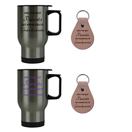 Only the Best Parents Get Promoted to Grandparents 14 oz Stainless Steel Travel Coffee Mugs Bundle with Leather Keychains (Black, Purple) - Great for Dads,