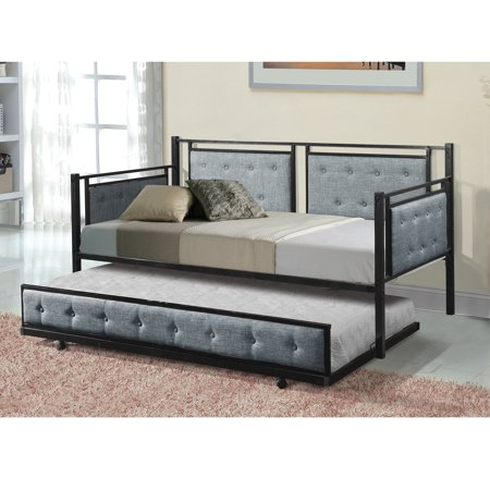 Home Source Alexandra Grey Fabric Tufted Daybed with Trundle, Black Metal Frame ()