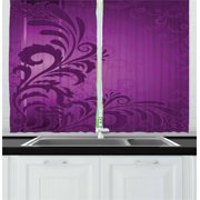 Purple Curtains 2 Panels Set, Spiralling Floral Branch on the Vertical Strip Purple on Purple Retro Style, Window Drapes for Living Room Bedroom, 55W X 39L Inches, Dark Purple Violet, by Ambesonne