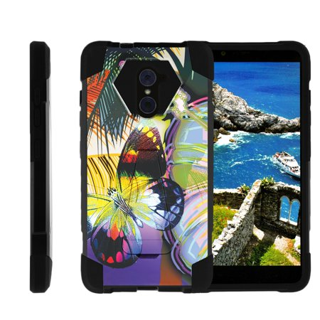 TurtleArmor ® | For ZTE Kirk | Imperial Max | Max Duo | Grand X Max 2 [Dynamic Shell] Dual Layer Hybrid Silicone Hard Shell Kickstand Case - Tropical Butterfly