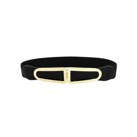 Cotton Elastic Waist Belt - Unique Bargains Black Metal Buckle Dress Skirt Cinch Waist Belt for Women