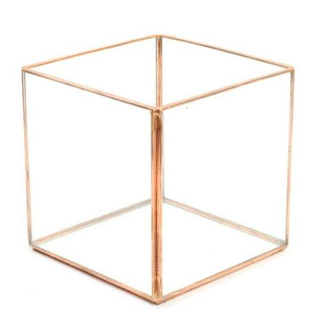 Koyal Wholesale Cube Geometric Table Glass Terrarium ()