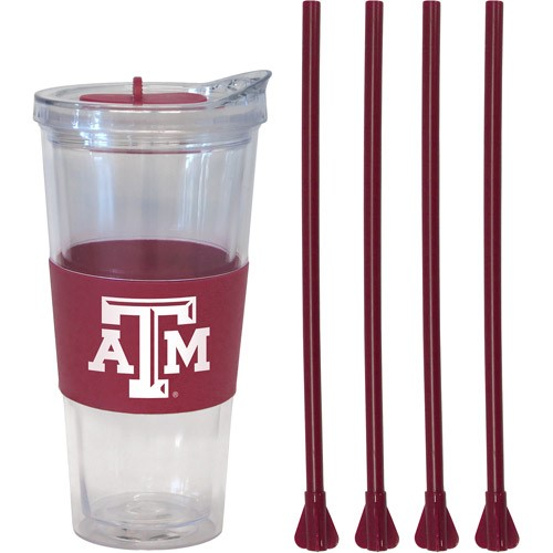 22oz NCAA Texas A&M Aggies Straw Tumbler with 4 Colored Replacement Propeller Straws