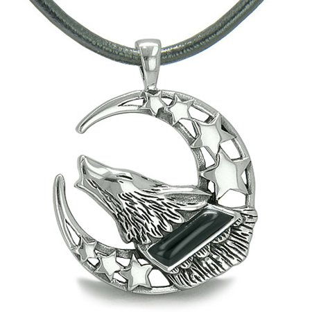 Howling Courage Wolf Moon Stars Amulet Positive Earth Energy Simulated Onyx Leather Pendant Necklace ()