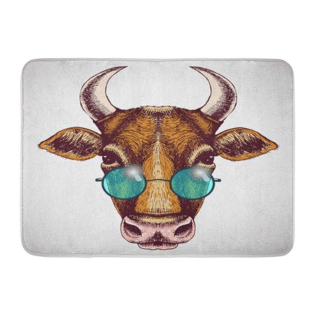 LADDKE Boho Hippie Cow Portrait Blue Round Sunglasses Bull Doormat Floor Rug Bath Mat 23.6x15.7 inch