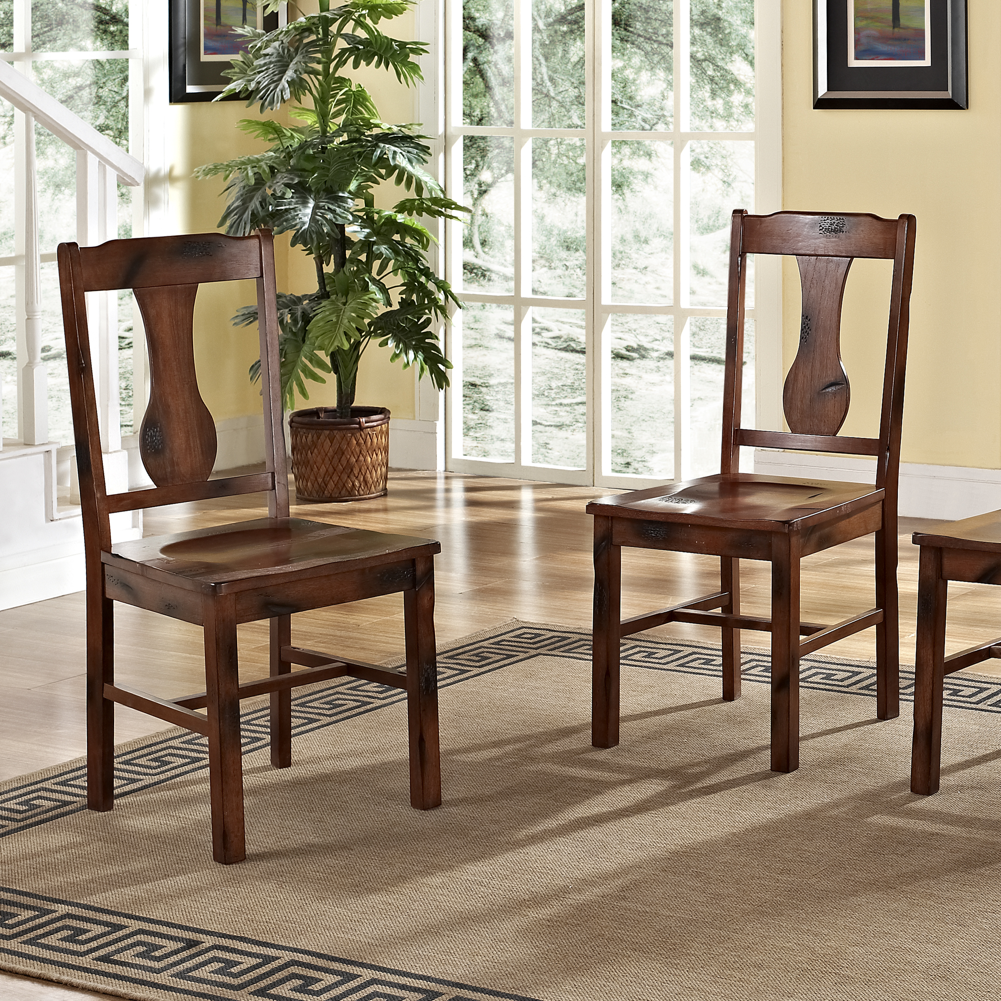 Traditional Distressed Dark Oak Wood Dining Kitchen Chairs, Set Of 2