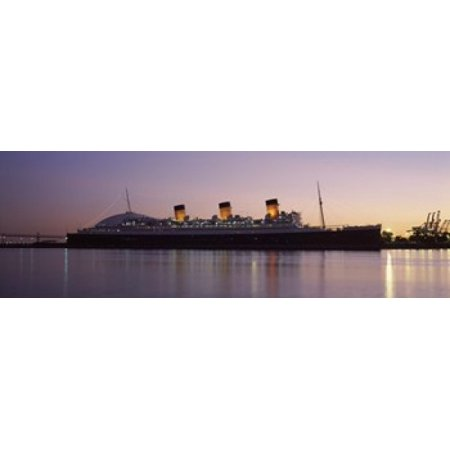 RMS Queen Mary in an ocean Long Beach Los Angeles County California USA Canvas Art - Panoramic Images (18 x - Queen Mary Los Angeles Halloween