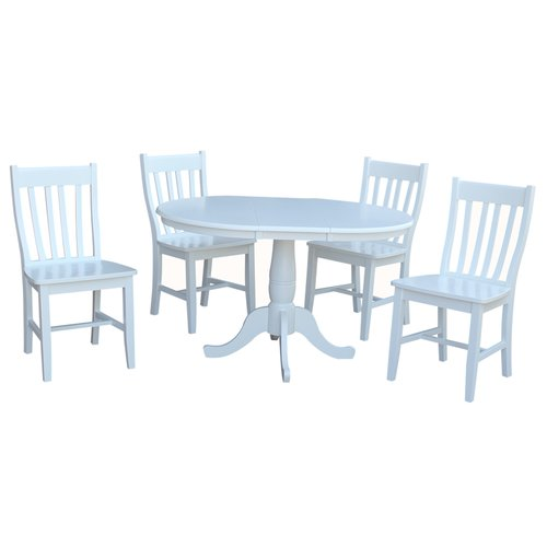 August Grove Petra Extendable Pedestal 5 Piece Solid Wood Dining Set