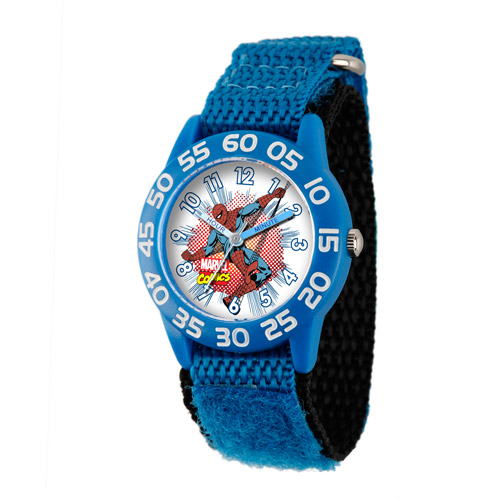 Marvel Spider-Man Boys' Plastic Case Watch, Blue Nylon Strap