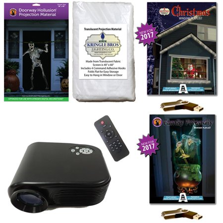 Atmosfearfx Christmas   Halloween Digital Decoration Kit Includes 800 X 480 Projector  Hollusion   Kringle Bros Projection Screens  Christmas   Family Friendly Compilation Videos On Usb
