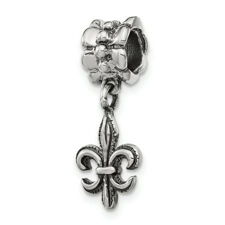925 Sterling Silver Charm For Bracelet Fleur De Lis Dangle Bead Religious Fine Jewelry For Women Gift -