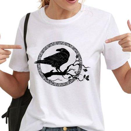 The Crow Halloween (Fancyleo Halloween Woman Gothic Style Black Crow Print Element Round Neck Short Sleeve)