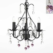 "Wrought Iron Mini Crystal Chandelier With Pink Crystal Hearts H18"" x W14"""