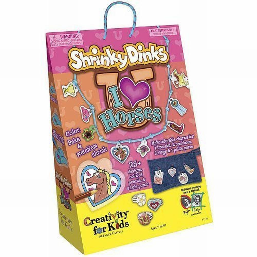 Shrinky Dinks I Love Horses Fun Craft Set 25 Designs Color Bake & Shrink