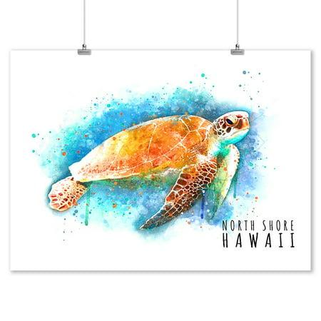 North Shore, Hawaii - Sea Turtle - Watercolor - Lantern Press Artwork (9x12 Art Print, Wall Decor Travel (Hawaiian Sea Turtles)