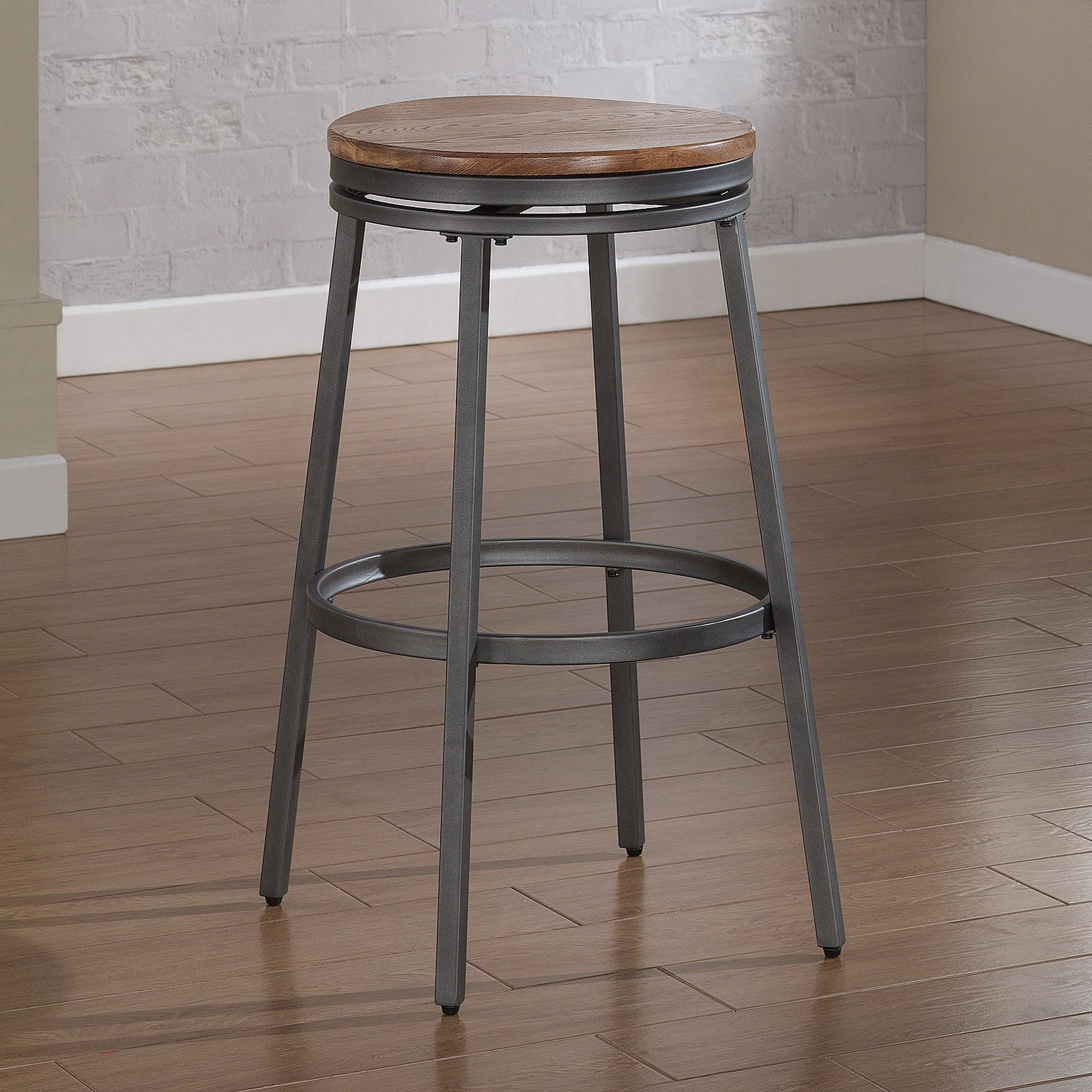 American Woodcrafters Stockton Backless Bar Stool - Slate Gray/Golden Oak