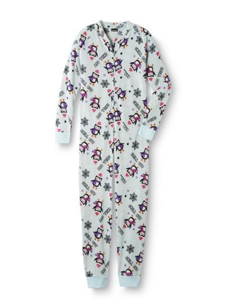 Joe Boxer Chill Out Penguin Womens Blue Fleece Pajama Sleeper Onesie ...