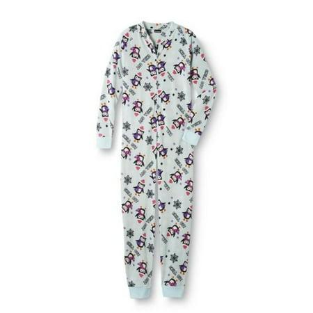 da71e770f Joe Boxer Chill Out Penguin Womens Blue Fleece Pajama Sleeper Onesie ...