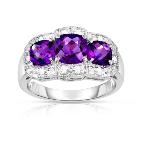- 14k White Gold Cushion Amethyst and Diamond (0.15 Ct, G-H, SI2) Cocktail Ring