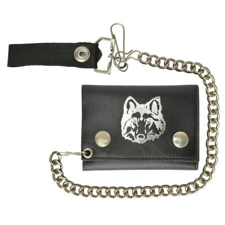 Biker Chain Trifold Genuine Leather Wallet Wolf Imprint 946-23 (C) Leather Biker Chain Wallet