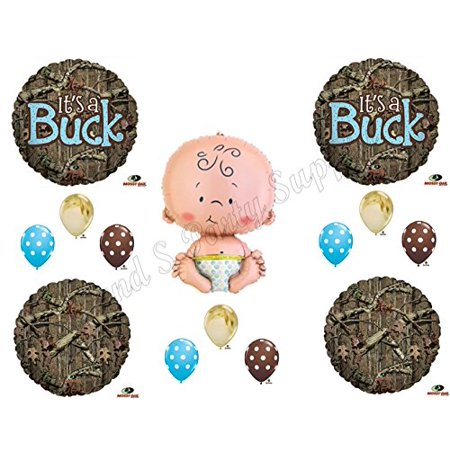 IT'S A BUCK CAMOUFLAGE BABY BOY SHOWER Balloons Decoration Supplies Mossy Oak - Baby Boy Helium Balloons