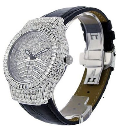 Mens White Gold Tone Full Iced Princess Cut Baguette Simulated Diamond Bling Master Genuine Leather Band Watch