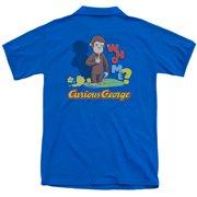Curious George Who Me (Back Print) Mens Polo Shirt