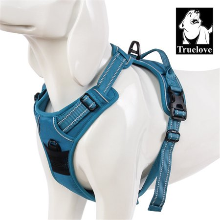 Truelove Soft Front Dog Harness .Best Reflective No Pull Harness with Handle and Two Leash Attachments Blue