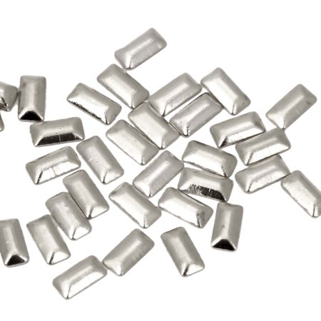 BMC Hipster Fresh Silver 100pc Metal Alloy Rectangular Nail Polish Art Accessory Studs
