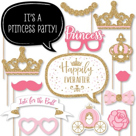 Little Princess Crown - Pink and Gold Princess Baby Shower or Birthday Party Photo Booth Props Kit - 20 Count - Princess Birthday Themes