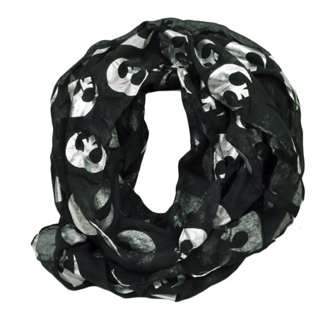 Star Wars Rebel Alliance Foil Print Infinity Scarf Disney Movie Womens Black ()