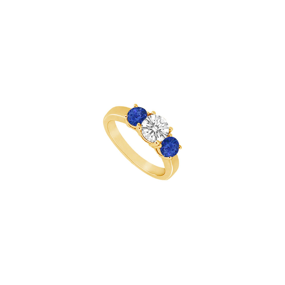 Three Stone Sapphire and Diamond Ring 14K Yellow Gold 1.00 CT TGW - image 2 of 2