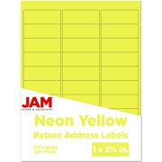 JAM PAPER Return Address Labels - Standard Mailing - 1 x 2 5/8 - Neon Yellow - 120 Shipping Labels/Pack