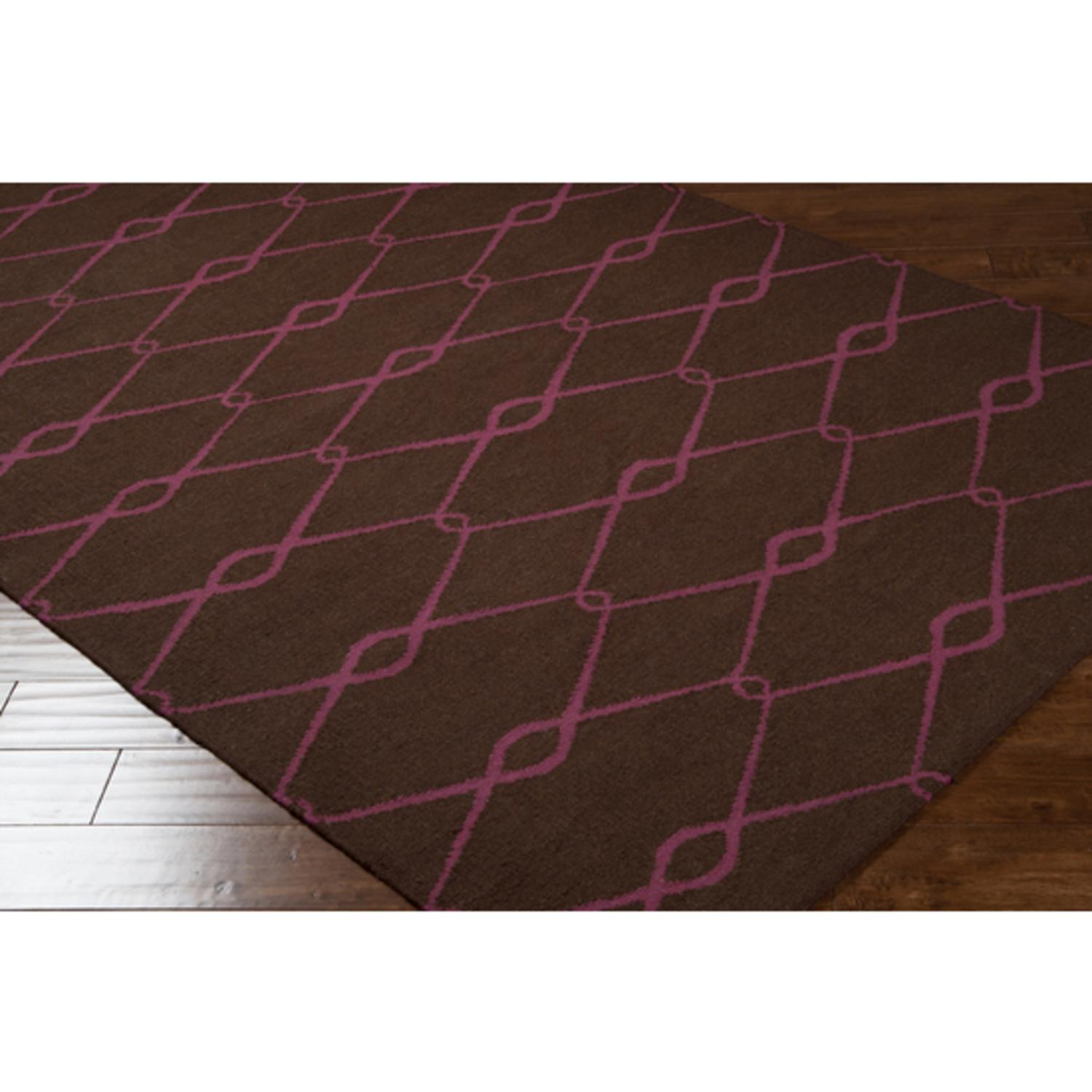 3.5' X 5.5' Chocolate Covered Cherry Cerise and Brown Wool Area Throw Rug