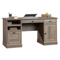 Bowery Hill Wood Executive Desk with File Drawer in Salt Oak
