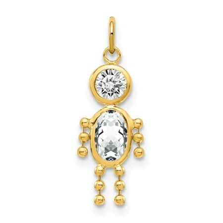 Roy Rose Jewelry 14K Yellow Gold April Boy Birthstone Charm Birthstone Charm Pendant Gold Birthstone Charm