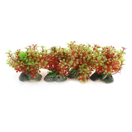 4 Pcs Aquarium Emulational Aquatic Grass Decor Burgundy Green w Ceramic Base
