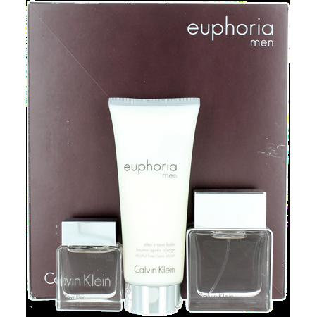 Euphoria by Calvin Klein For Men SET: EDT Splash 0.5oz + EDT Spray 1oz + ASB - Euphoria Set