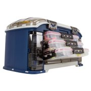 """Plano Synergy FTO Elite Extreme Angle""""R"""" System Fishing Tackle Box with Seven Utilities, Blue/Beige"""