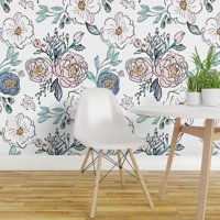 Peel-and-Stick Removable Wallpaper Floral Vintage Blush Blue Indy Bloom Flowers