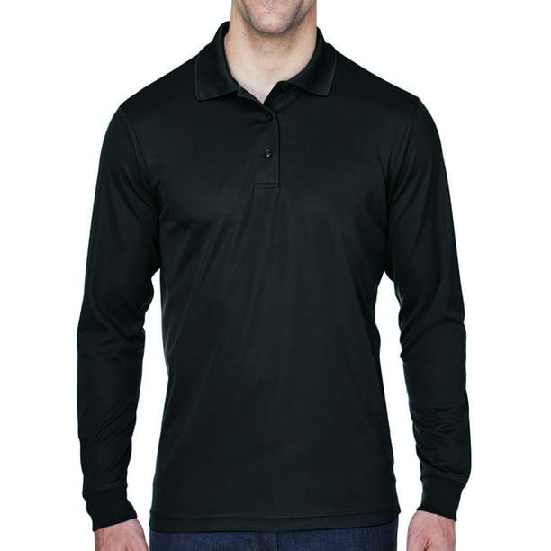 Mens Moisture-Wicking Long Sleeve Polo Shirt - Black, Large