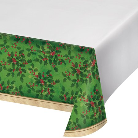 Ivory Holly - Pack of 12 Moss Green and Ivory Gilded Holly Border Print Table Cover 102