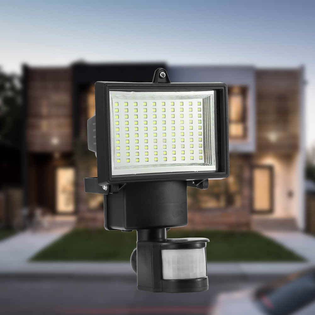 100 SMD LED Solar Motion Sensor Flood Light Waterproof High Output LEDs Solar Security Light, Wall Lights, Spot Lamp for Patio, Deck, Yard