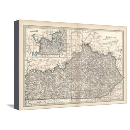 Plate 82. Map of Kentucky. United States Stretched Canvas Print Wall ...