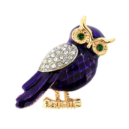 Enamel Purple Owl Crystal Pin - Enamel Bar Pin Brooch