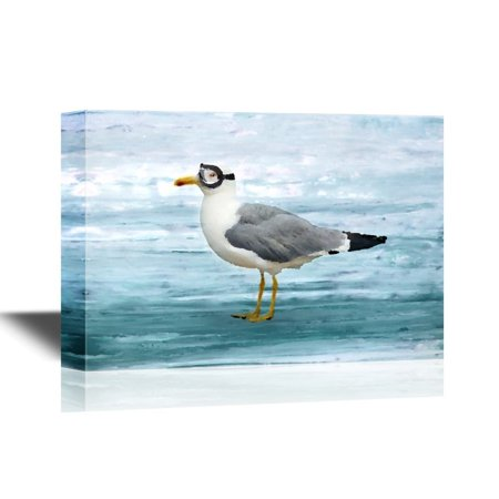 wall26 Canvas Wall Art - Seagull with Goggles of Pilot on Seascape Background - Gallery Wrap Modern Home Decor | Ready to Hang - 32x48 inches