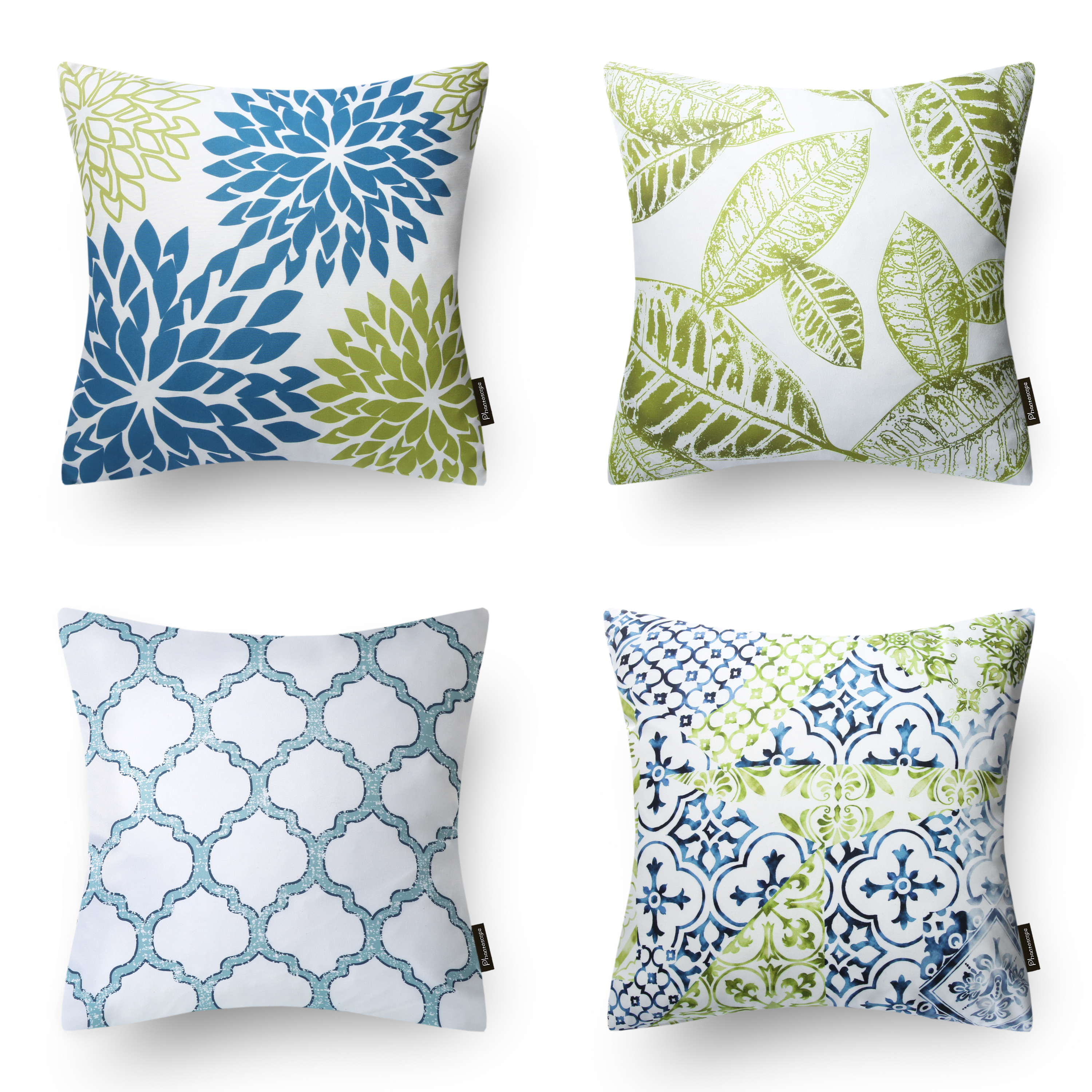 Phantoscope New Living Blue&Green Decorative Throw Pillow Case Cushion Cover Set of 4 (Pillow Covers Only)