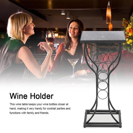 Zerone Furniture Metal with Marble Finish Top Table with  Wine Storage Organizer Rack Holder Display, Wine Organizer,Wine Holder ()