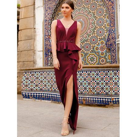 Ever-Pretty Women's Elegant Floor-Length V-Neck Burgundy Fishtail Peplum Evening Prom Formal Dresses with Thigh High Slit 07271